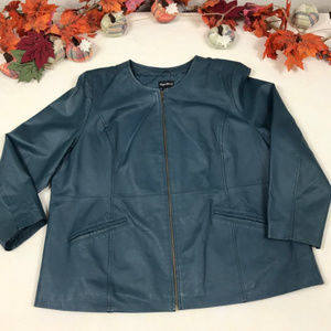 Plus Size Genuine Leather Jacket Blue 2x 22/24